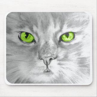 キャロルZeock著緑の瞳のmousepadの芸術の猫 マウスパッド