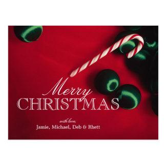 キャンディ・ケーンおよびクリスマスオーナメント ポストカード