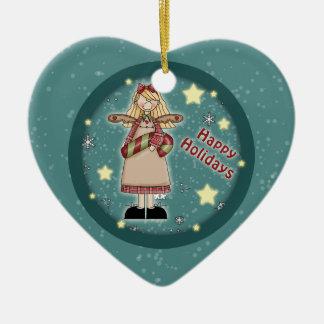 キャンディ・ケーンとのお洒落なクリスマスの天使 セラミックオーナメント