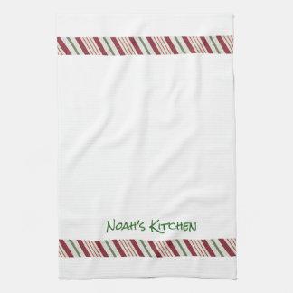 キャンディ・ケーンのクリスマスのボーダー茶台所タオル キッチンタオル