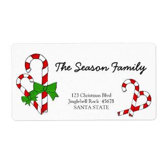 キャンディ・ケーンのクリスマスの住所シール ラベル
