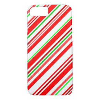 キャンディ・ケーンのストライプなクリスマスの赤く白い緑 iPhone 7ケース