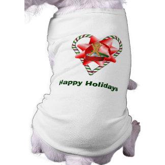 キャンディ・ケーンのハートのクリスマスの休日犬のワイシャツ ペット服