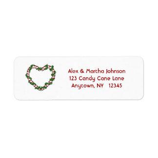 キャンディ・ケーンのハートの宛名ラベル ラベル
