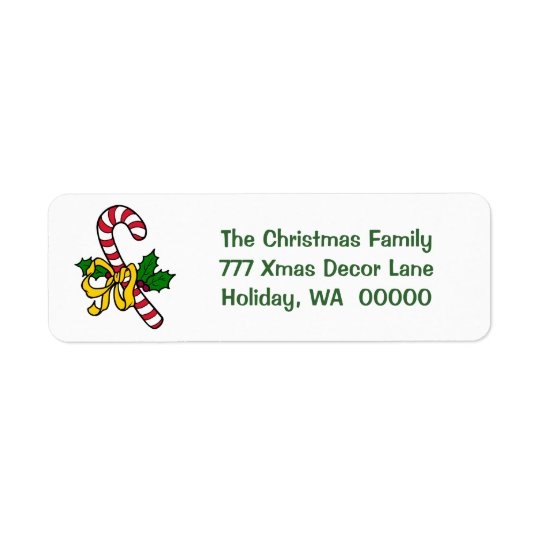 キャンディ・ケーンのリボンの休日のクリスマスのクリスマスの住所 ラベル