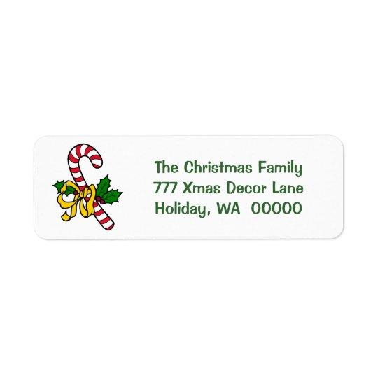キャンディ・ケーンのリボンの休日のクリスマスのクリスマスの住所 返信用宛名ラベル