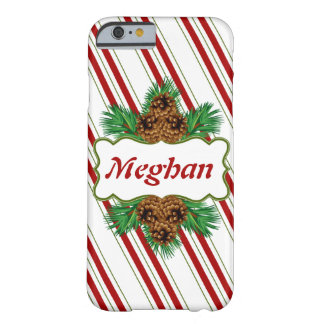 キャンディ・ケーンの名前入りなストライプなクリスマスの休日 BARELY THERE iPhone 6 ケース