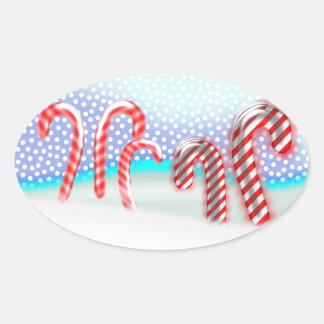 キャンディ・ケーンの森林クリスマス 楕円形シール