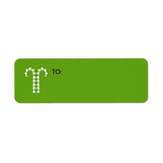 キャンディ・ケーンの緑の小さいギフトのラベル ラベル