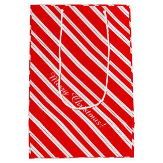 キャンディ・ケーンの赤い白のストライプのメリークリスマス! ミディアムペーパーバッグ