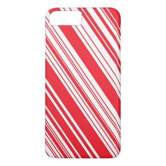 キャンディ・ケーンの赤と白の斜めの数々の縞で飾ります iPhone 7 PLUSケース