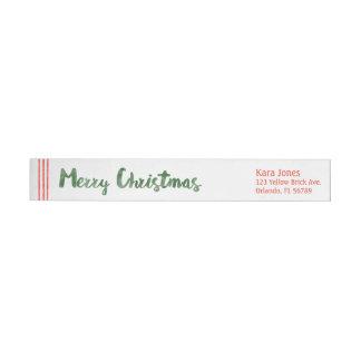 キャンディ・ケーンはメリークリスマスを望みます ラップアラウンド返信用宛名ラベル