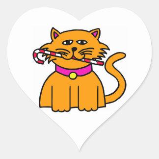 キャンディ・ケーンを持つ虎猫 ハートシール