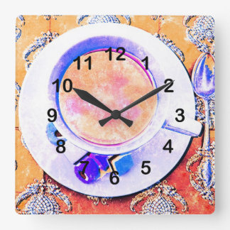 キャンデーが付いている伝統的でビクトリアンなお茶 スクエア壁時計