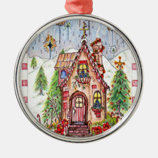 キャンデーのクリスマスの家のオーナメント メタルオーナメント
