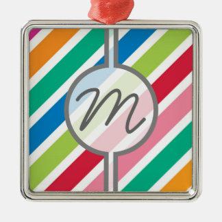 キャンデーのストライプで厚い対角線-文字を編集して下さい メタルオーナメント