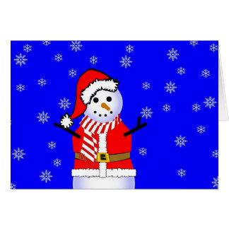 キャンデーのストライプのなスカーフが付いているサンタのスーツの雪だるま カード