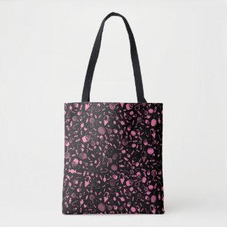 キャンデーのデザインとしてピンクおよび黒の菓子 トートバッグ