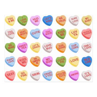 キャンデーのハートのバレンタインデーの郵便はがき ポストカード