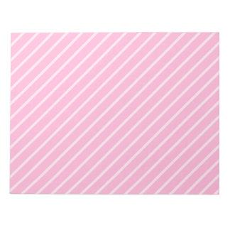 キャンデーのピンクの斜めの縞模様 ノートパッド