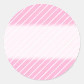 キャンデーのピンクの斜めの縞模様 ラウンドシール