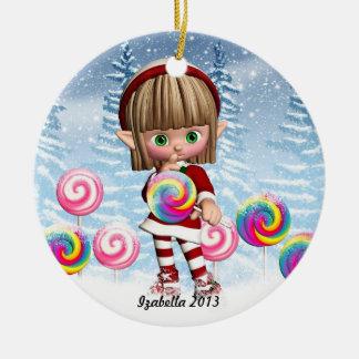 キャンデーのポップの小妖精や小人および雪の背景のオーナメント セラミックオーナメント