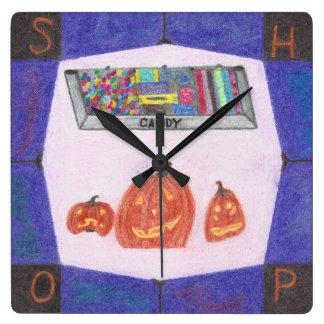 キャンデーの店のストップウォッチ スクエア壁時計