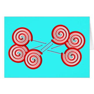 キャンデーの棒つきキャンデーの渦巻パターンデザイン カード