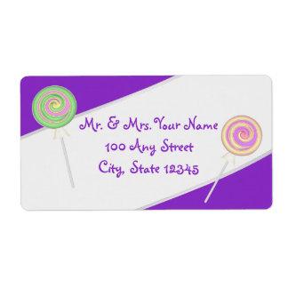 キャンデーの棒つきキャンデーの紫色の住所 ラベル