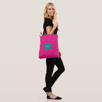 キャンデーはCericeのピンクで>粋なトート縞で飾ります トートバッグ