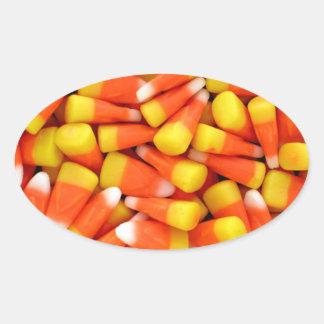キャンデートウモロコシのステッカー 楕円形シール