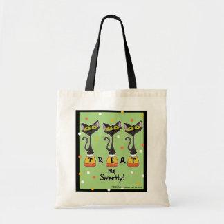 キャンデートウモロコシの猫は甘緑の私を扱います トートバッグ