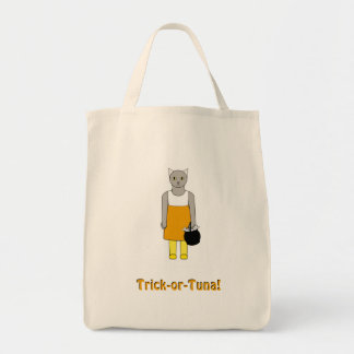 キャンデートウモロコシの衣裳の猫が付いているトリックまたは御馳走バッグ トートバッグ