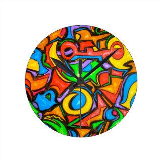 キャンデー抽象芸術の芸術の時計を隠したところ ラウンド壁時計