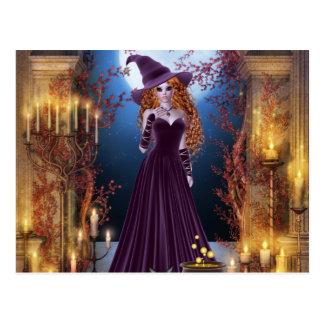 キャンドルライトによるハロウィンの魔法使い ポストカード