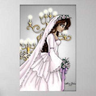 キャンドルライトの花嫁-暗いブルネット ポスター