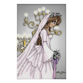 キャンドルライトの花嫁-軽いブルネット ポスター