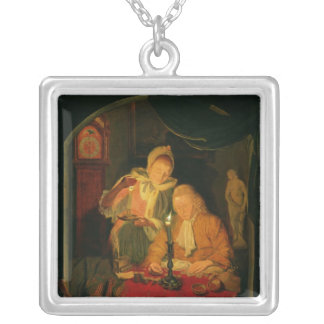 キャンドルライト1779年によってお金を数えるカップル シルバープレートネックレス