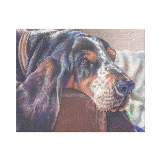 キャンバスのバセットハウンド犬の鉛筆のスケッチを着色して下さい キャンバスプリント