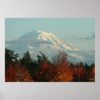 キャンバスのプリント: 秋レーニア山 ポスター