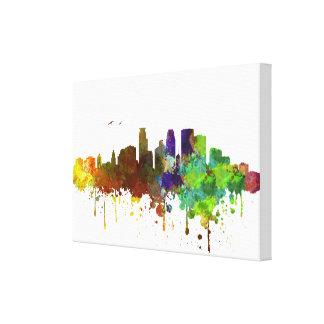 キャンバスのミネアポリスのスカイラインの水彩画のプリント キャンバスプリント