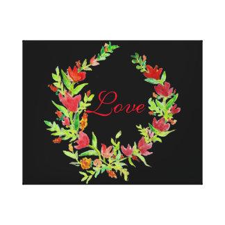 キャンバスの手塗りの花のリース キャンバスプリント