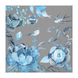 キャンバスの水彩画の青いシャクヤクそしてつばめ キャンバスプリント