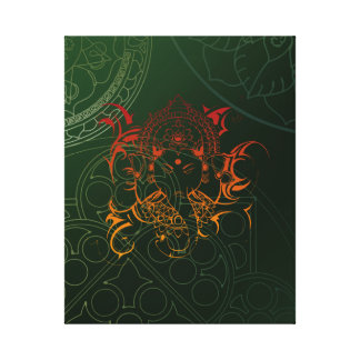 キャンバスオレンジgred緑象のGaneshaの曼荼羅 キャンバスプリント