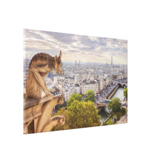 キャンバス|のガーゴイル及びエッフェル塔の眺め|パリ キャンバスプリント