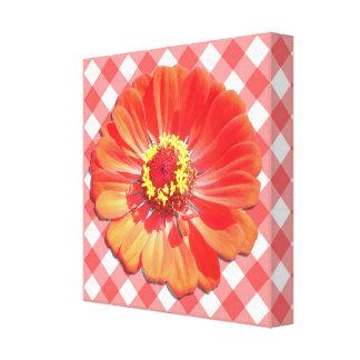 キャンバス-包まれたな-格子の赤い《植物》百日草 キャンバスプリント