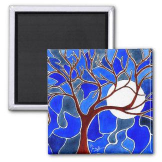 キャンバス-青の木そして月 マグネット