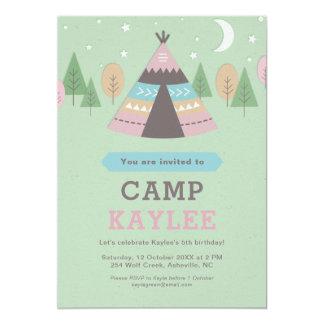 キャンプのテント小屋のテントの誕生会 12.7 X 17.8 インビテーションカード