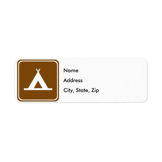 キャンプのハイウェーの印 返信用宛名ラベル
