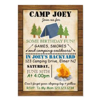 キャンプのパーティの招待状 12.7 X 17.8 インビテーションカード
